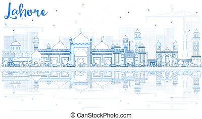 Outline Lahore Skyline with Blue Landmarks and Reflections.