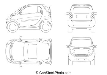 outline., lato, auto., vehicle., compatto, ciao-tecnologia, ...