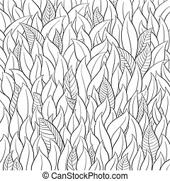 Outline leaf background on white