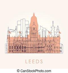 Outline Leeds skyline with landmarks.
