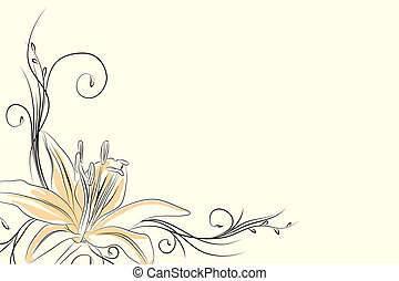 Black outline lily on light background (vector illustration)