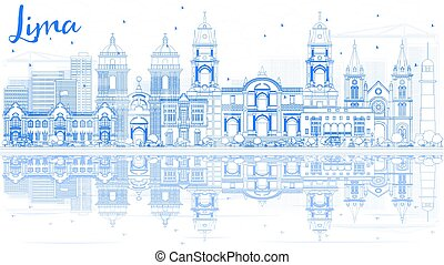Outline Lima Skyline with Blue Buildings and Reflections.