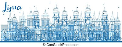 Outline Lima Skyline with Blue Buildings.