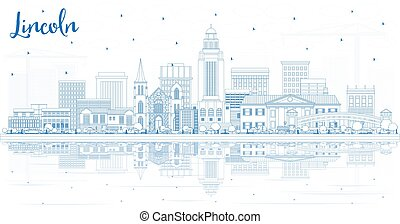 Outline Lincoln Nebraska City Skyline with Blue Buildings and Reflections. Vector Illustration. Business Travel and Tourism Concept with Historic Architecture. Lincoln USA Cityscape with Landmarks.