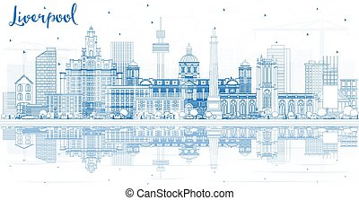 Outline Liverpool Skyline with Blue Buildings and Reflections.