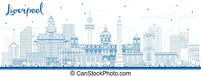 Outline Liverpool Skyline with Blue Buildings.