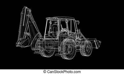 Outline Loading Shovel with Back Actor. 3D illustration...