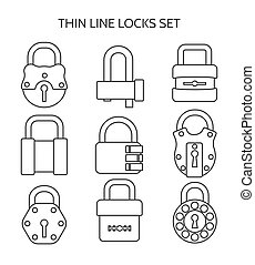 Outline lock icons set - Thin line locks. Outline or linear...