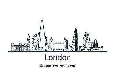 Outline London banner - Linear banner of London city. All...