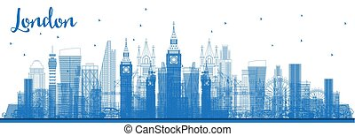 Outline London City Skyline with Blue Buildings.