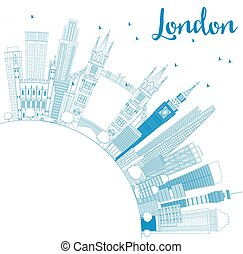 Outline London England Skyline with Blue Buildings and Copy Space.