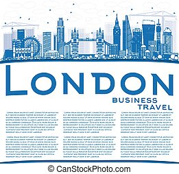 Outline London Skyline with Blue Buildings and Copy Space.