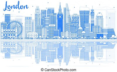 Outline London Skyline with Blue Buildings and Reflections.