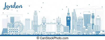 Outline London Skyline with Blue Buildings.