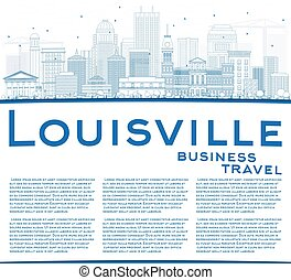 Outline Louisville Skyline with Blue Buildings and Copy Space.