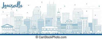 Outline Louisville Skyline with Blue Buildings.