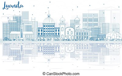 Outline Luanda Skyline with Blue Buildings and Reflections. Vector Illustration. Business Travel and Tourism Concept with Modern Architecture. Image for Presentation Banner Placard and Web Site.