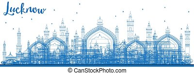 Outline Lucknow Skyline with Blue Buildings.