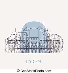Outline Lyon vintage skyline with landmarks. Vector...