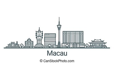 Outline Macau banner - Linear banner of Macau city. All...