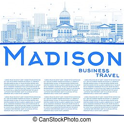 Outline Madison Skyline with Blue Buildings and Copy Space.