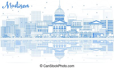 Outline Madison Skyline with Blue Buildings and Reflections.