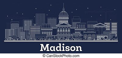 Outline Madison Wisconsin City Skyline with White Buildings...