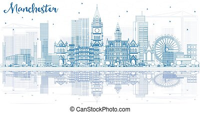 Outline Manchester Skyline with Blue Buildings and Reflections.