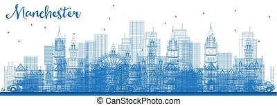 Outline Manchester Skyline with Blue Buildings.
