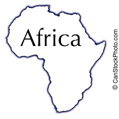 Outline Map Of Africa Over A White Background