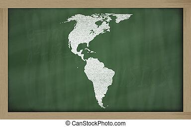 outline map of america on blackboard