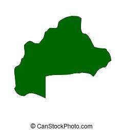 Burkina - Outline map of Burkina Faso isolated on white ...