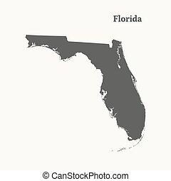 Outline map of Florida. vector illustration.