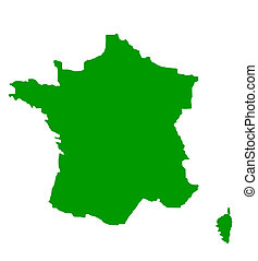 Outline map of France in green, isolated on white...