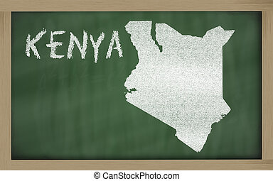 outline map of kenya on blackboard - drawing of kenya on...
