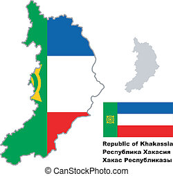 outline map of Khakassia with flag - Outline map of ...