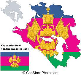 outline map of Krasnodar Krai with flag - Outline map of ...