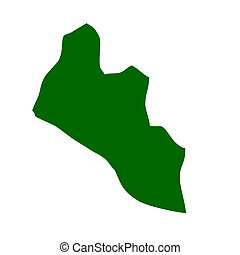 Liberia - Outline map of Liberia isolated on white ...