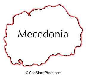 Macedonia - Outline map of Macedonia over a white background