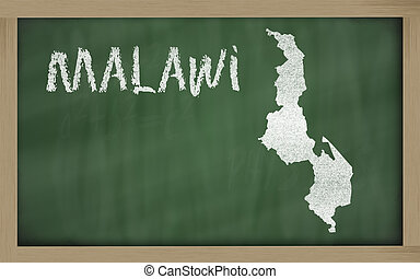 outline map of malawi on blackboard - drawing of malawi on...