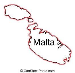 Malta - Outline map of Malta over a white background