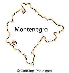 Montenegro - Outline map of Montenegro over a white...
