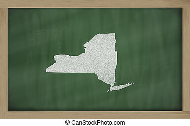 outline map of new york on blackboard