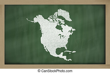 outline map of north america on blackboard