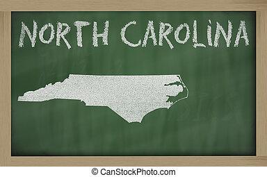 outline map of north carolina on blackboard