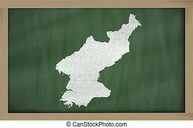outline map of north korea on blackboard