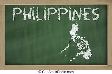 outline map of philippines on blackboard drawing of philippines on