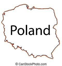 Poland - Outline map of Poland on a white background