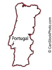 Portugal - Outline map of Portugal over a white background