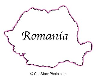 Romania - Outline map of Romania over a white background